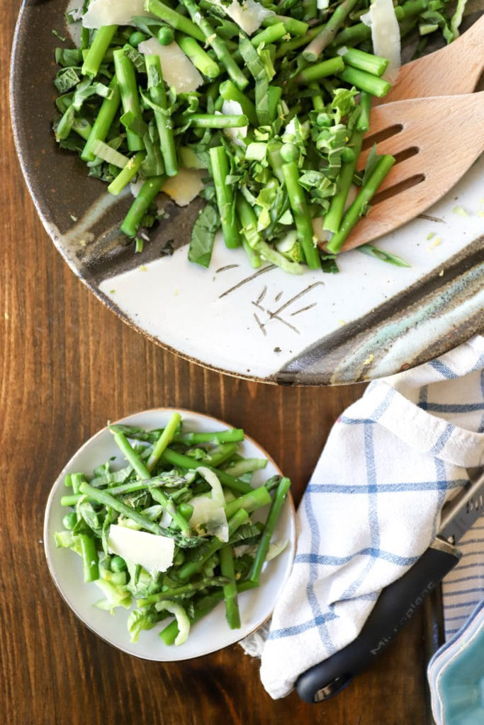 small plate of salad with asparagus