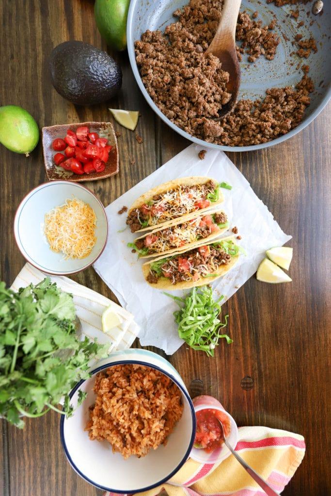 hard shall ground beef tacos spread