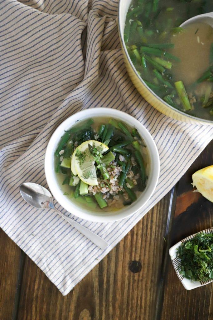 farro soup with lemon
