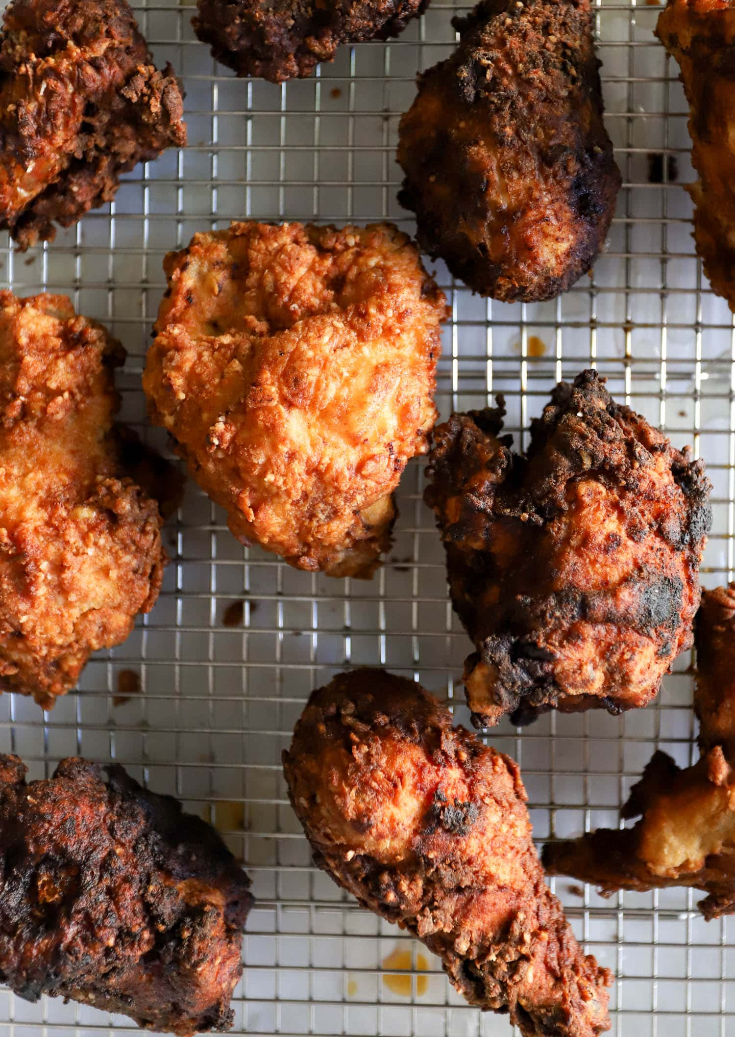 Buttermilk fried chicken on a wire rack
