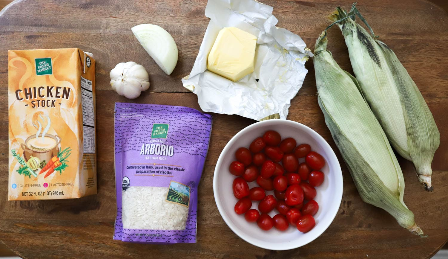 ingredients for homemade risotto with corn