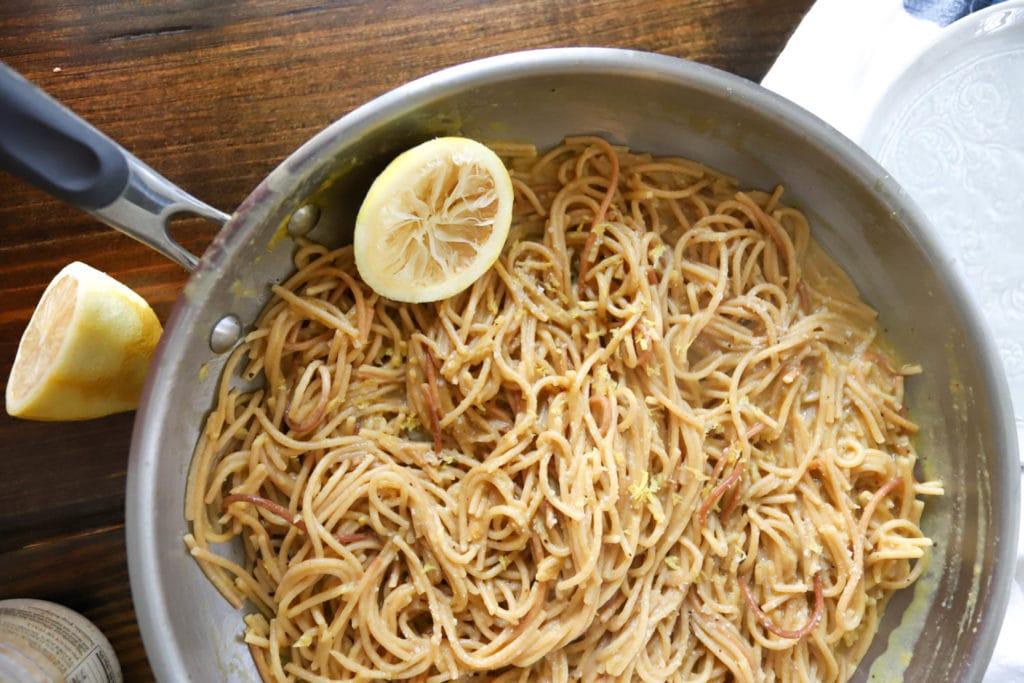 one pot lemon pepper pasta skillet
