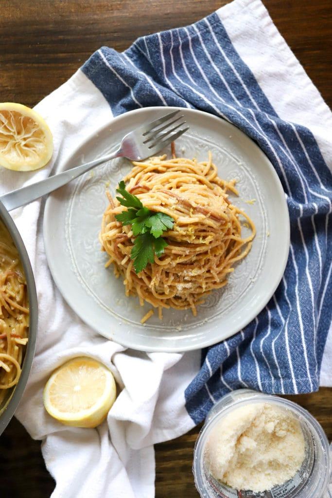 plate of lemon pepper pasta