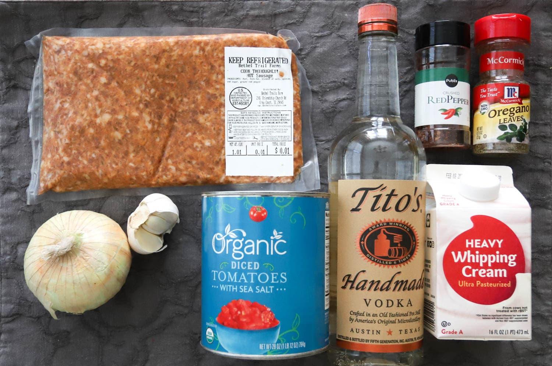 spicy sausage vodka sauce ingredients