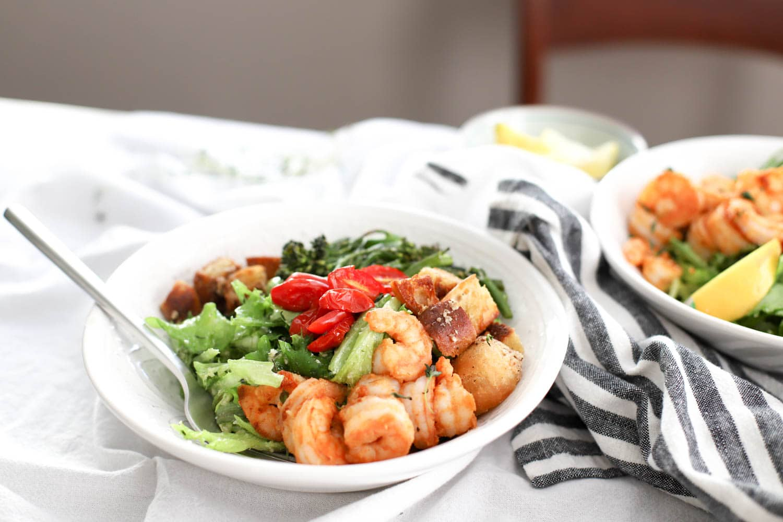lemon thyme shrimp caesar salad  my therapist cooks
