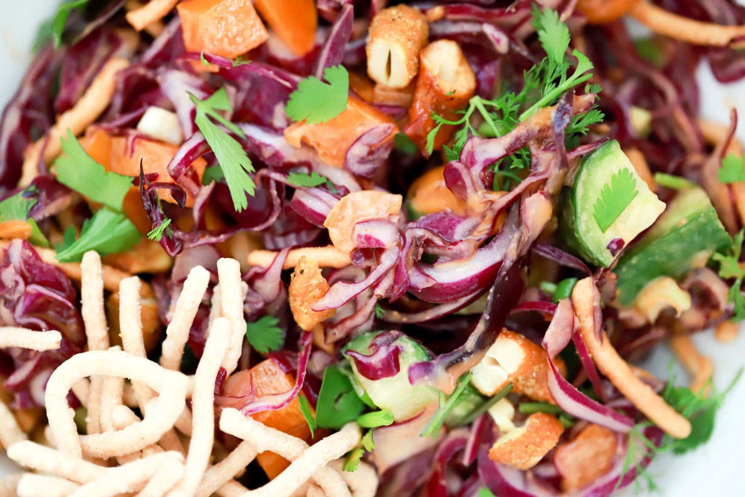 Spicy Peanut Sauce with red cabbage chopped salad. Perfect for meal prepping!