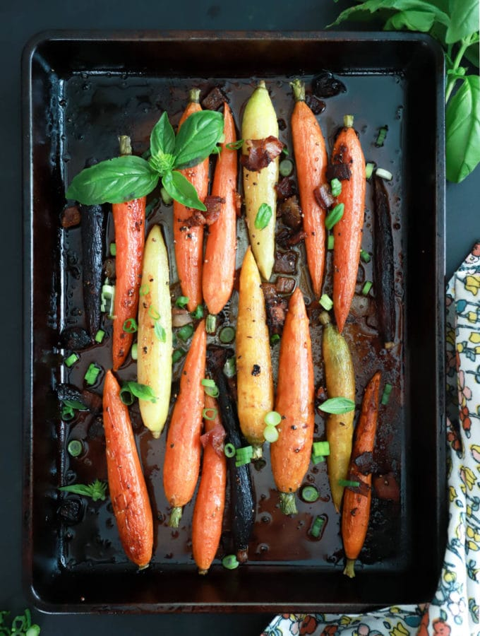 Roasted Carrots with Bacon from funnyloveblog.com