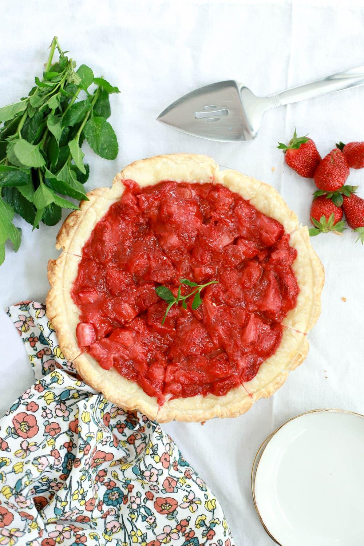 strawberry pie with fresh mint