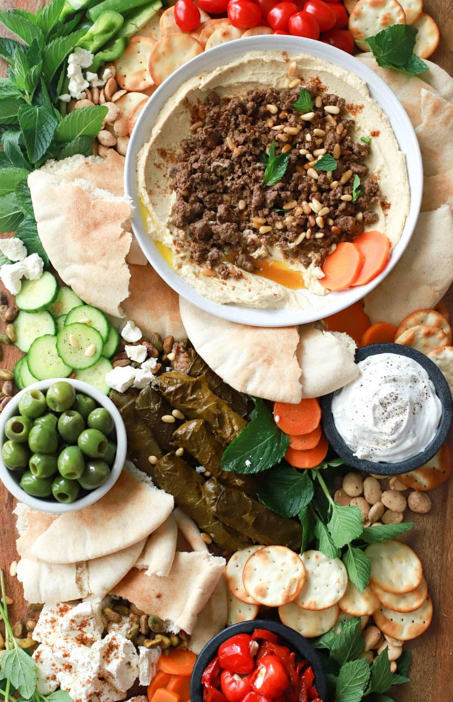 giant mediterranean hummus board