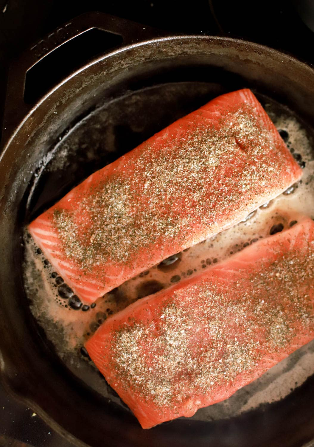 cooking salmon in cast iron skillet