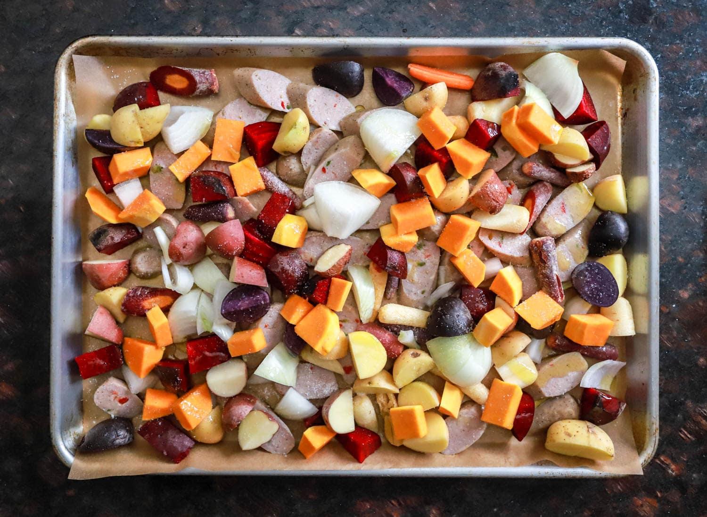 sheet pan veggies and sausage