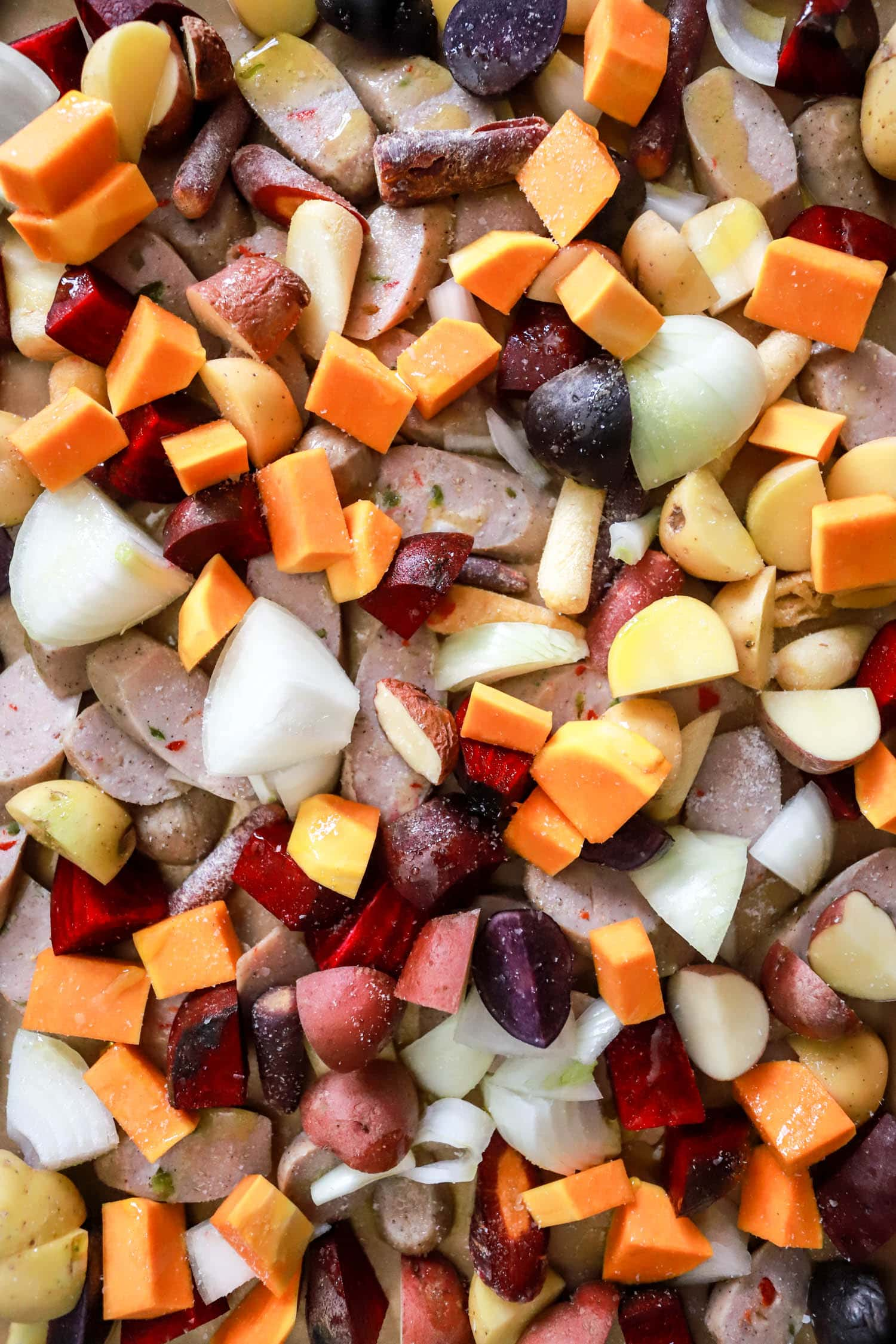 sheet pan sausage and root vegetables