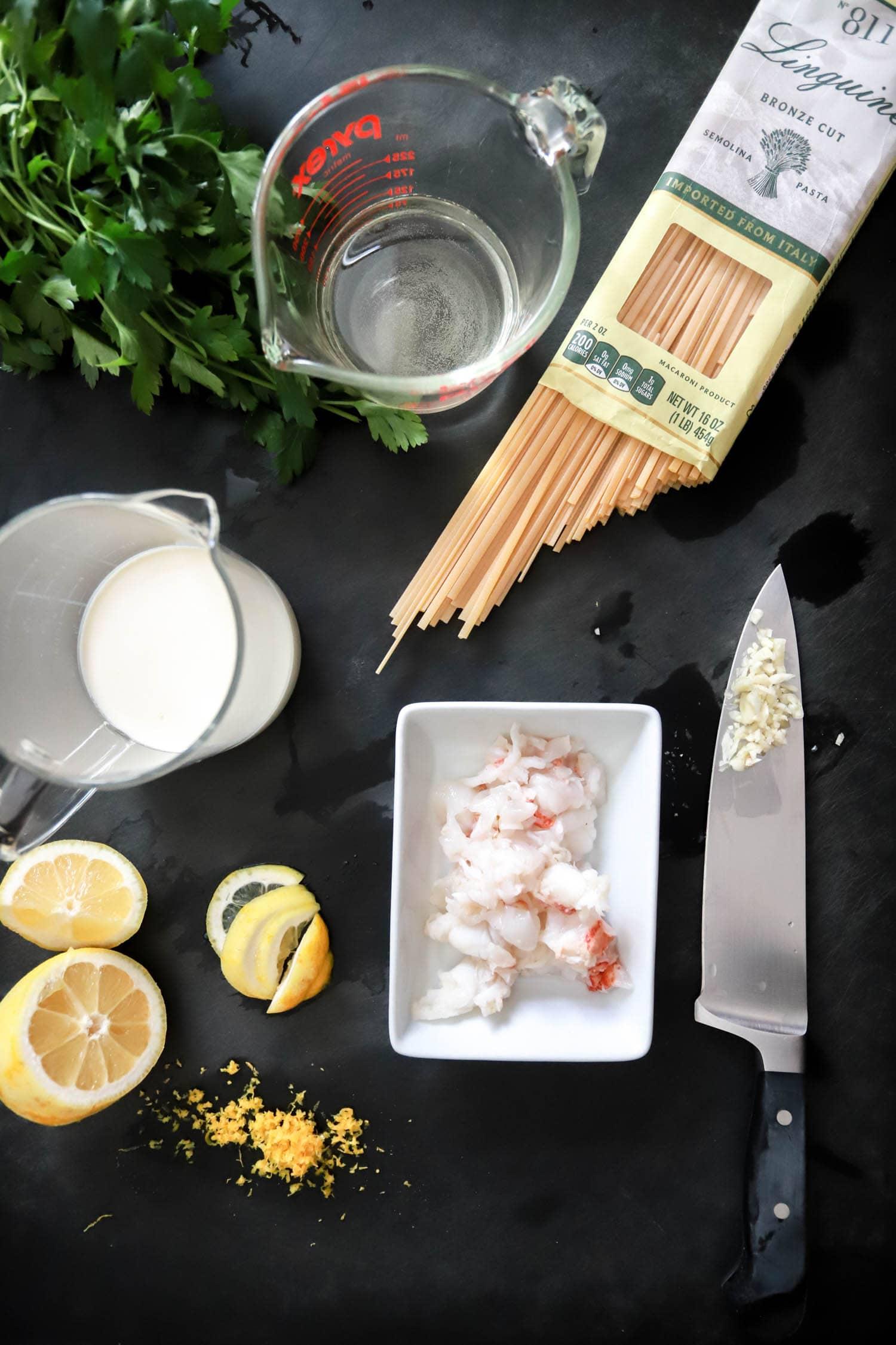 ingredients for lobster pasta cream sauce