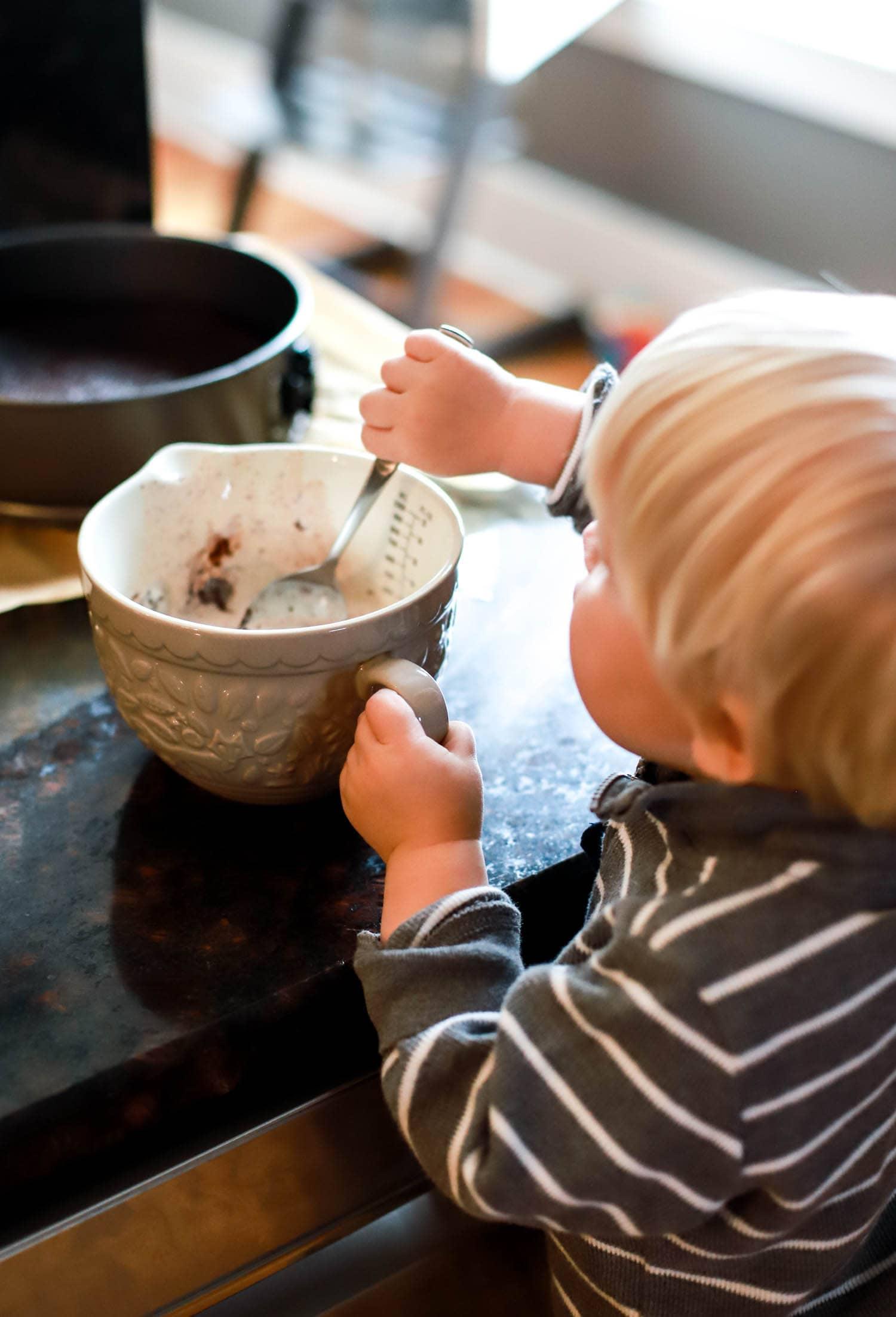 kids helping in kitchen