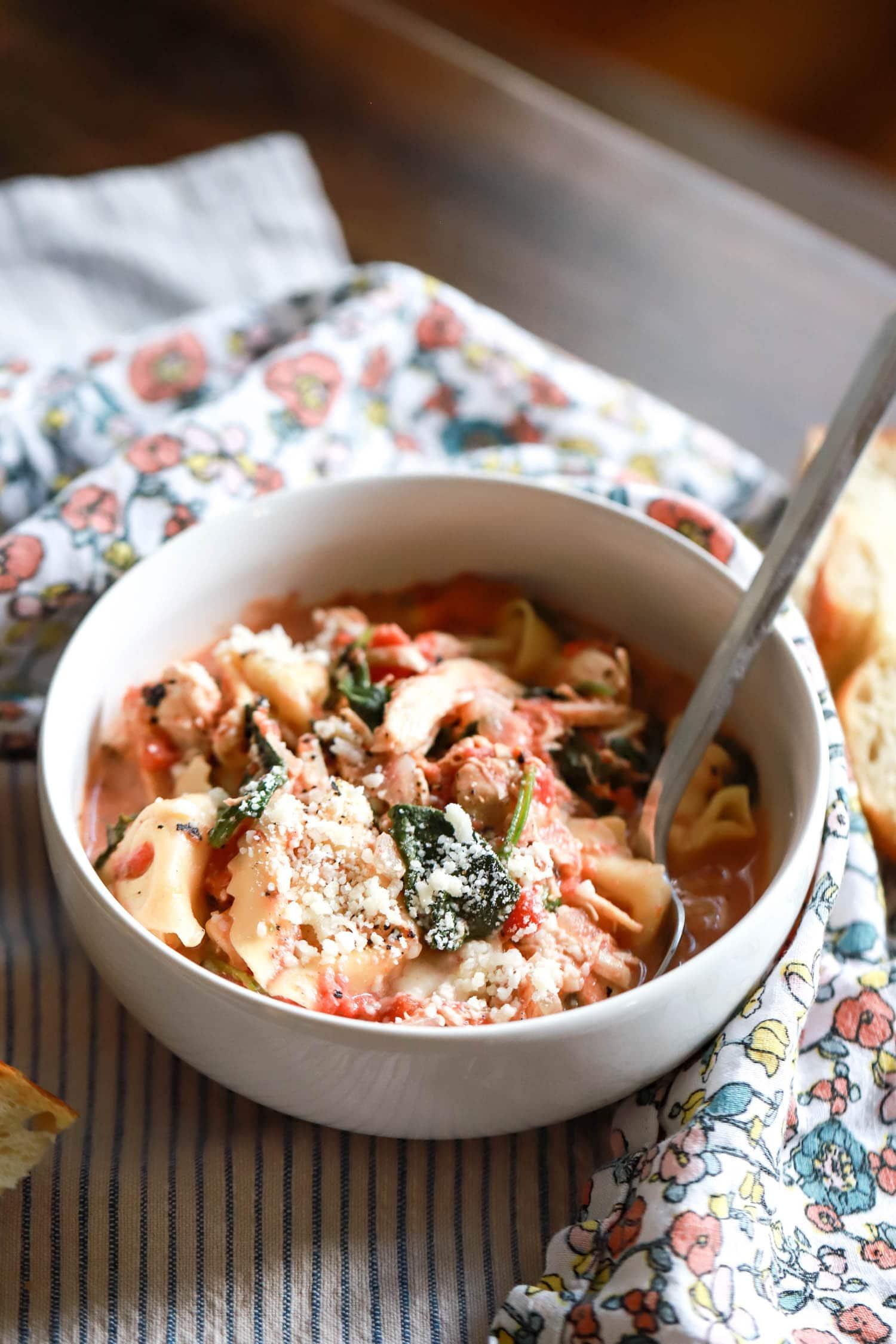 backlit bowl of tortellini chicken soup