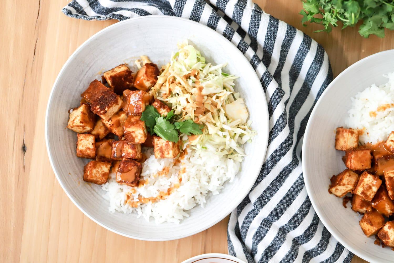 peanut sauce tofu with rice