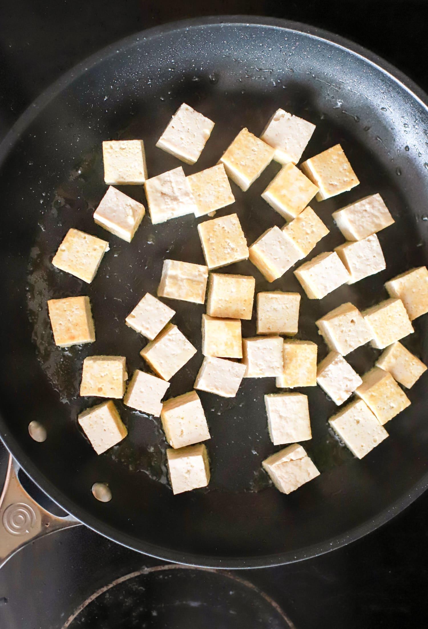 tofu frying in pan 2